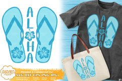 Flip Flops Aloha SVG   Hibiscus SVG   Tropical Vacation SVG Product Image 1
