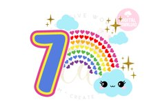7th Birthday svg | My 7th Birthday svg | Rainbow Birthday Product Image 1