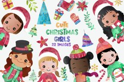 Cute Christmas Clipart, Merry Christmas Girls Clipart Product Image 1