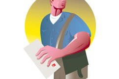 postman mailman with mail envelope mailbag Product Image 1