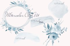 Pastel Watercolor Floral Clipart Blue for wedding invitation Product Image 4