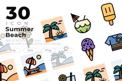 Set of 30 Summer icon come with colorline design Product Image 1
