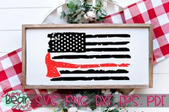 Firefighter Axe Distressed Flag - A Firefighter Flag SVG Product Image 1