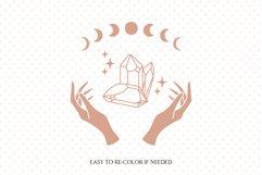 Witch hands svg, Crystal svg, Crescent moon svg, Magic gem Product Image 2