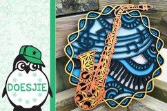 3d svg layered mandala music instrument saxophone Product Image 5