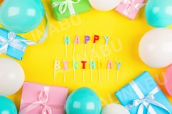 Birthday background with decoration and gift boxes Product Image 1