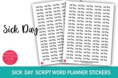 Sick Day Script Words Planner Stickers- Sick Day Stickers Product Image 1