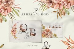 Watercolor Alphabet clipart. Floral letters and numbers Product Image 3