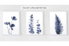 Blue floral Fern Blue leaves Plant print watercolour plants Product Image 2
