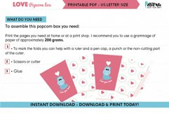 Valentines printable popcorn box, love DIY party decorations Product Image 2