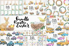 watercolor easter clipart, easter rabbit png, easter eggs Product Image 1