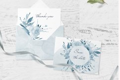 Blue Watercolor Floral Clipart Frame Product Image 2