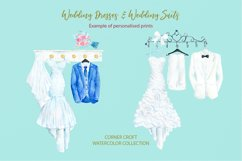 Watercolor wedding outfit on hangers and cloth hooks Product Image 5