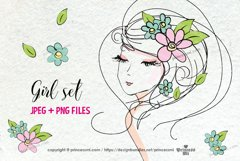 hand drawn pretty girl art set 2, girl face with flowers Product Image 1