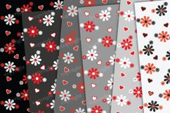 Red and gray flowers and hearts background Product Image 2