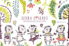 Cute Zebra. Kids horse. Watercolor baby animals clipart Product Image 1