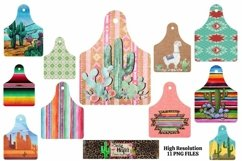 Cattle cow ear tags Southwestern Dye Sublimation PNG Product Image 1