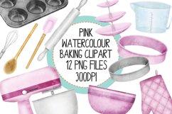 Pink Watercolor Baking Clip Art Set Product Image 1