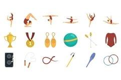 Rhythmic gymnastics icons set, flat style Product Image 1