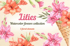 Lilies watercolor flower collection Product Image 1