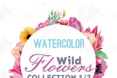 Watercolor wild flowers clip art pack, exotic watercolor flowers valentine clip art. Eps, png, jpg, svg,  vector files included. Part 1/2 Product Image 4
