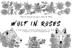 Wolf in roses set 100 hand-drawn Product Image 6
