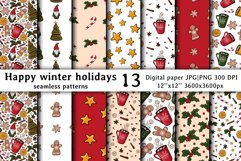 Christmas & New year Digital papers JPG PNG Seamless pattern Product Image 1