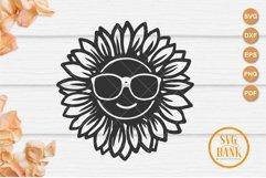 Sunflower with eyeglasses svg, sunflower glasses svg Product Image 1