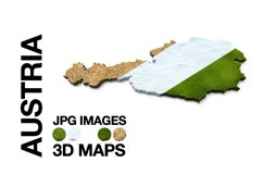 AUSTRIA 3D Maps Images Dry Earth Snow Grass Terrain Sand Product Image 1