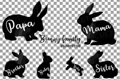 Bunny family silhouettes, pink and blush rabbit Easter decor Product Image 3