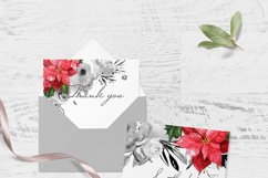 CHRISTMAS FLORAL Pointeness watercolor clipart Product Image 3