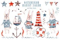 Cute Rabbit sailor. Kids watercolor sea clipart. Baby Bunny Product Image 2