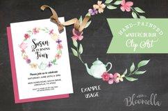 Watercolor Teapot Flower Wreath Floral Clipart Set Product Image 6