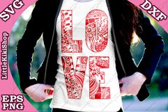 Love Svg,Love Cut Files,Mandala Love,Zentangle Love,Love Svg Product Image 1