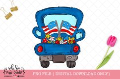 Patriotic truck with American flag, sublimation png, doodle Product Image 1