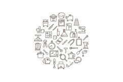Cooking food in kitchen outline icons Product Image 1