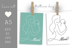 Mothers day card printable, Mom and Baby, Line art Product Image 1
