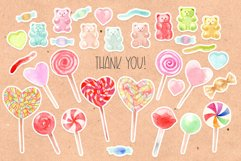 Watercolor candy. Valentine's Day. Patterns and Cliparts Product Image 5