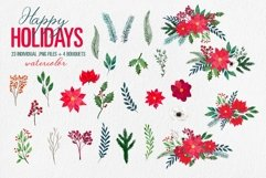 Christmas Floral Clipart Xmas New Year Bouquets PNG Images Product Image 3