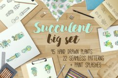 Succulent - Big hand drawn set with paint splashes Product Image 1
