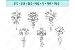 Lotus Svg, Lotus Mandala Svg, Yoga sigh Svg, Png, Eps, Dxf Product Image 1