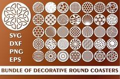 Bundle of Decorative Circle Coasters. Coaster SVG. Laser cut Product Image 1