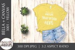 Bella Canvas 3001 Woman's T Shirt Mockup, Yellow, Flat Lay Product Image 1