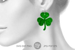 Clover earrings, St Patrick's day earrings, SVG cut file Product Image 5