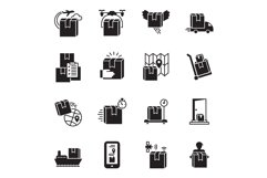 Parcel delivery icon set, simple style Product Image 1