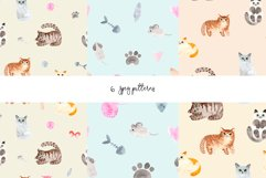 Watercolor Cute Cats. Patterns and Cliparts Product Image 4