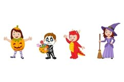 Set of twelve Cartoon Halloween Kids Character Product Image 4