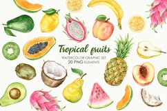 Watercolor Tropical Fruit Clipart. Food illustration Product Image 1