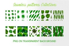 Hand drawn tropical leaves seamless pattern set Product Image 2