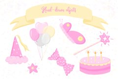 Fairy Birthday Pink Girl Clipart Set Hand Drawn Pastel Product Image 2